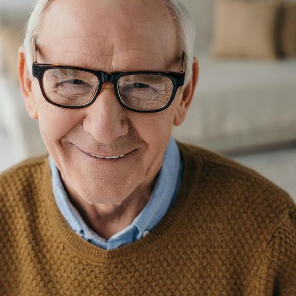 Mobile opticians in Norfolk and Norwich. Glasses on a senior man.